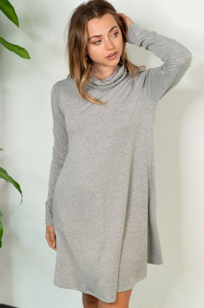 Chic Winter Mentions Grey Knit Swing Dress3