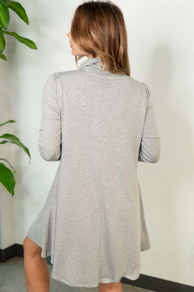 Chic Winter Mentions Grey Knit Swing Dress 2