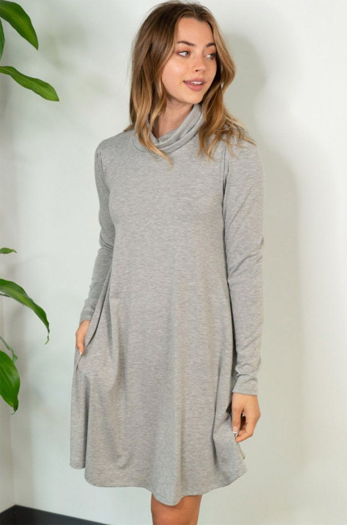 Chic Winter Mentions Grey Knit Swing Dress4