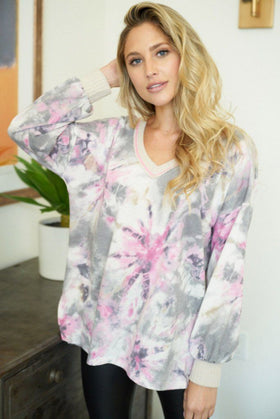 Chill With Me Pink Tie-Dye Knit Pullover Sweater 1