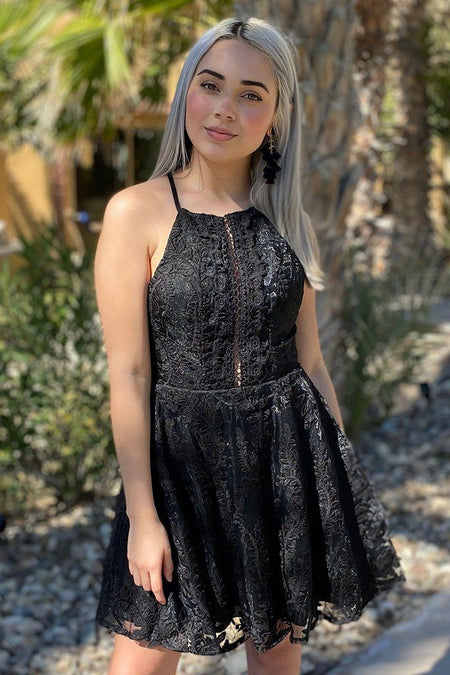 City Of Love Black Embroidered Lace Halter Skater Dress 1