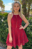 City Of Love Red Embroidered Lace Halter Skater Dress 1