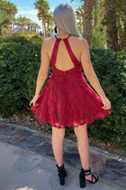 City Of Love Red Embroidered Lace Halter Skater Dress 3