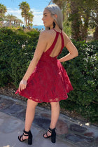 City Of Love Red Embroidered Lace Halter Skater Dress 2