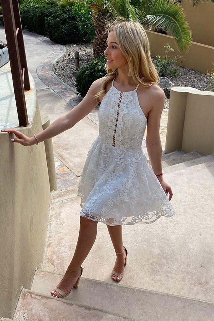 City Of Love White Lace Halter Skater Dress 3