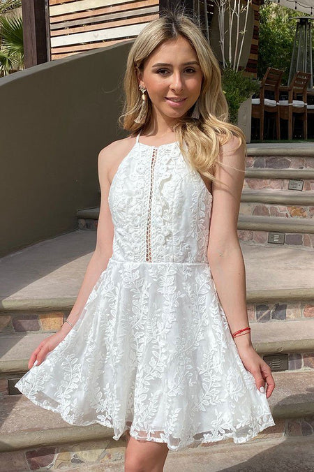 City Of Love White Lace Halter Skater Dress 1