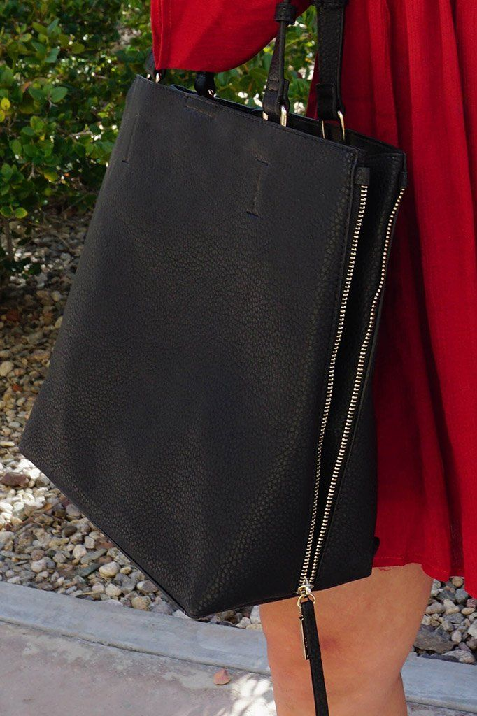 Clever Choice Black Metal Zip Side Tote Bag 3