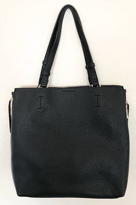 Clever Choice Black Metal Zip Side Tote Bag 1