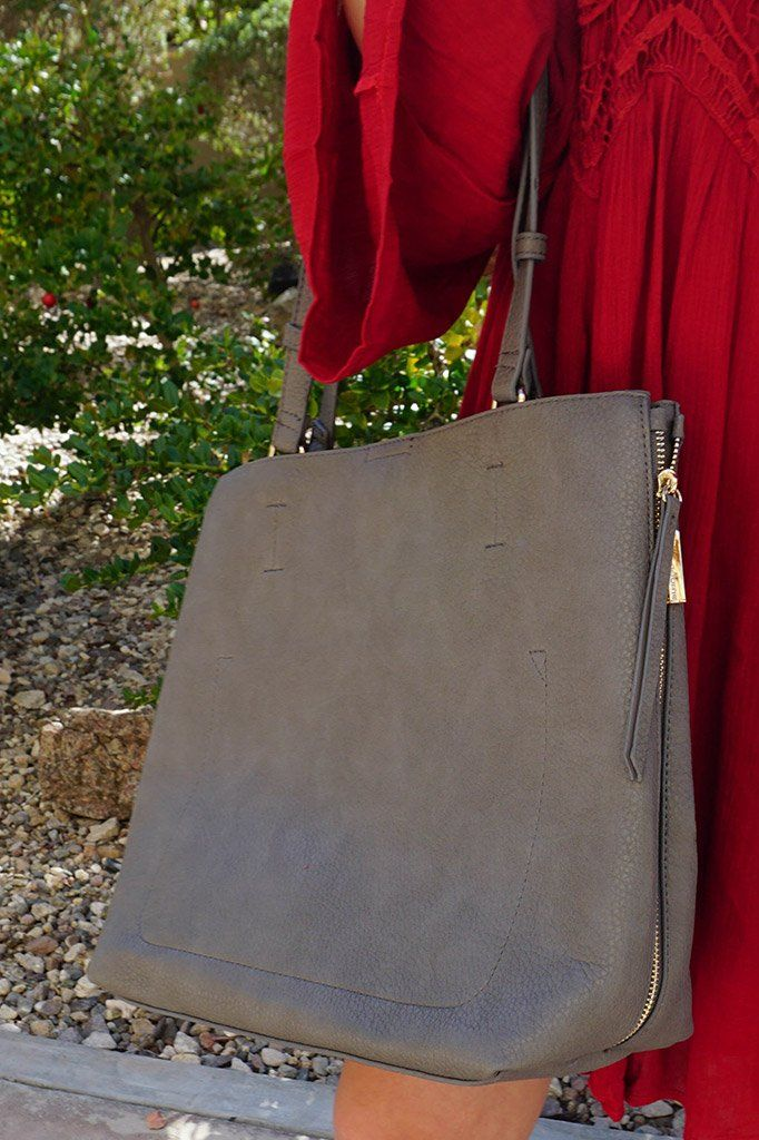 Clever Choice Charcoal Metal Zip Side Handbag 2