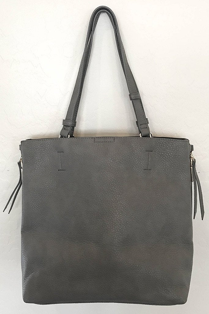 Clever Choice Charcoal Metal Zip Side Handbag 1