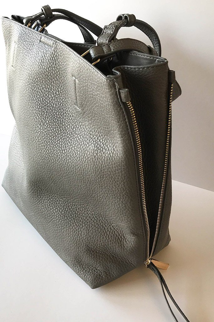 Clever Choice Charcoal Metal Zip Side Handbag 3