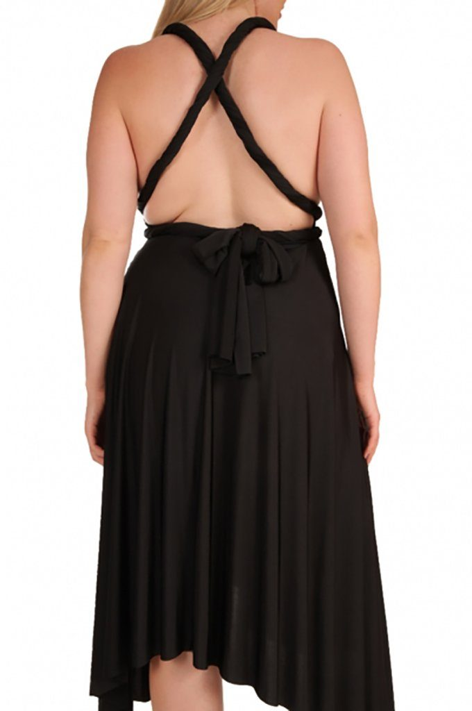 Convertible Black Long Swing Maxi Plus Size Dress 3