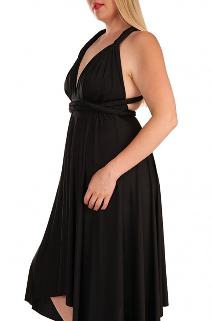 Convertible Black Long Swing Maxi Plus Size Dress 2