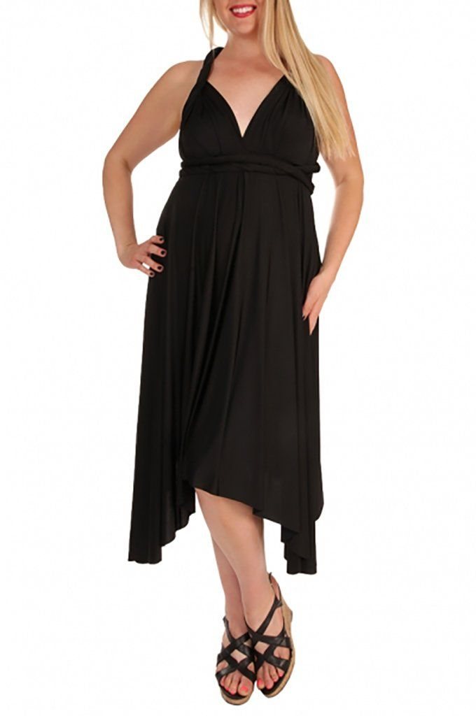 Convertible Black Long Swing Maxi Plus Size Dress 1