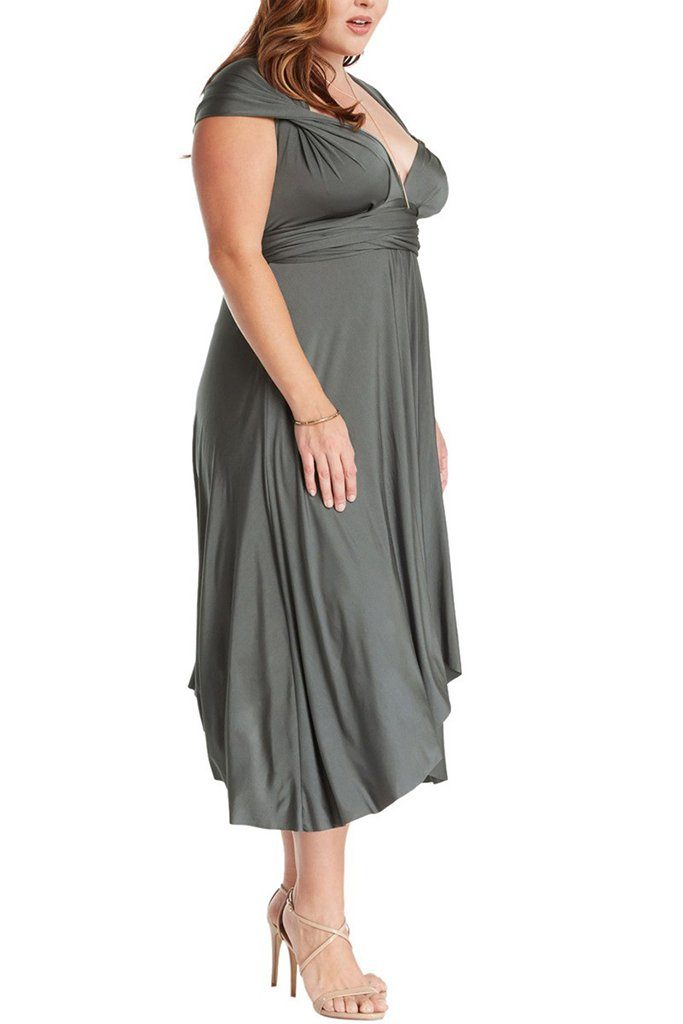 Convertible Charcoal Long Swing Maxi Plus Size Dress 2