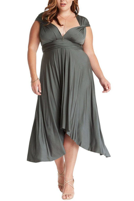 Convertible Charcoal Long Swing Maxi Plus Size Dress 1