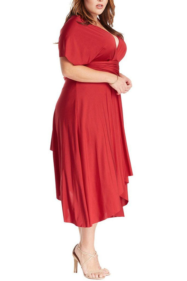 Convertible Rich Red Long Swing Maxi Plus Size Dress 2