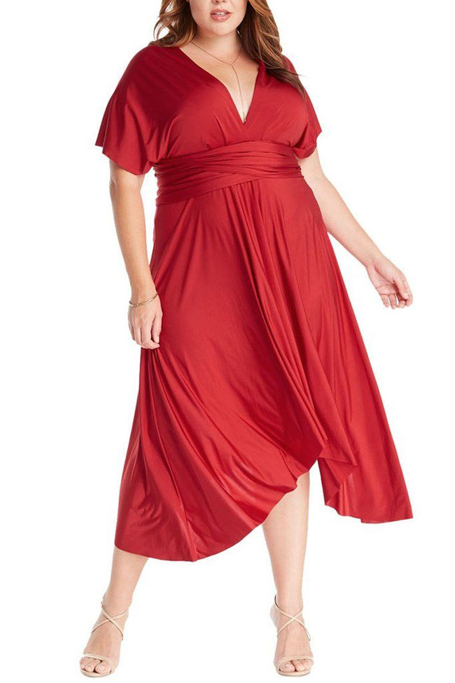 Convertible Rich Red Long Swing Maxi Plus Size Dress 1