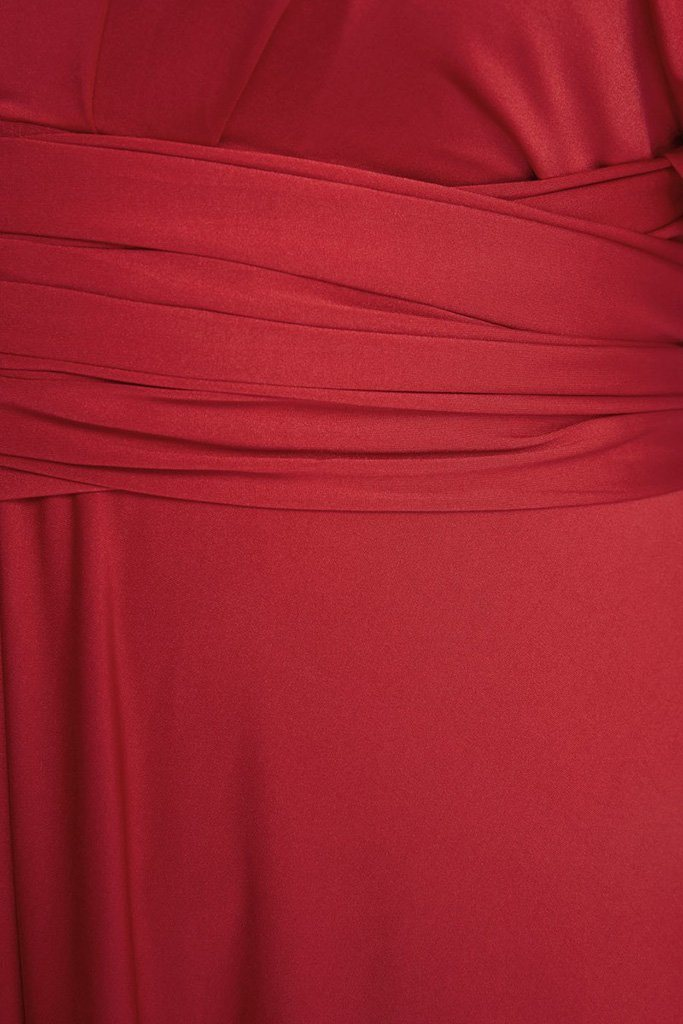 Convertible Rich Red Long Swing Maxi Plus Size Dress 4