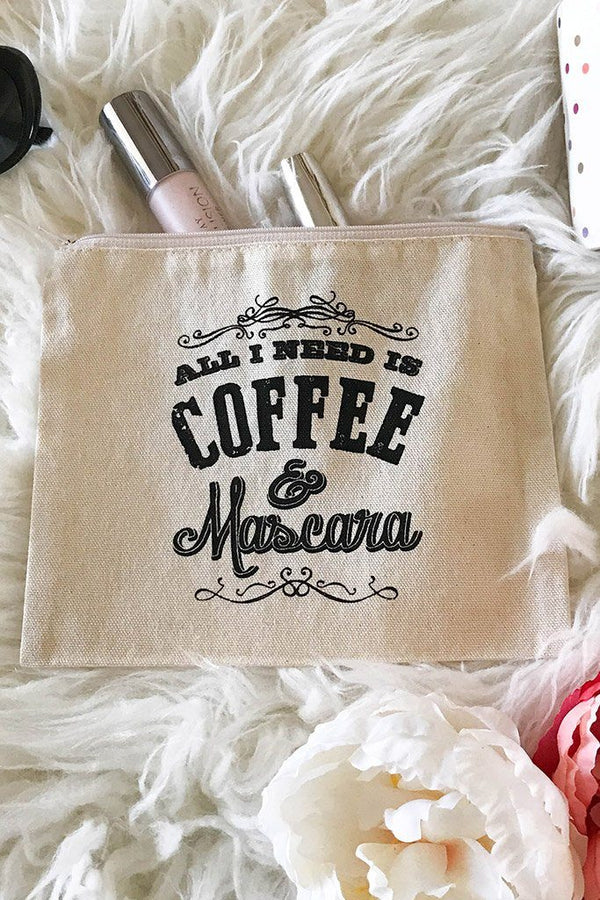 Cotton Canvas All I Need Is Mascara & Coffee Quote Cosmetic Bag 3