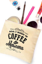 Cotton Canvas All I Need Is Mascara & Coffee Quote Cosmetic Bag 4