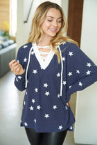 Count Your Lucky Stars Blue Crisscross Pullover Top 4