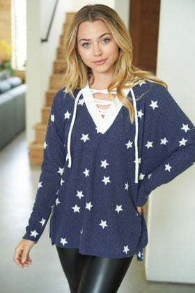 Count Your Lucky Stars Blue Crisscross Pullover Top 1