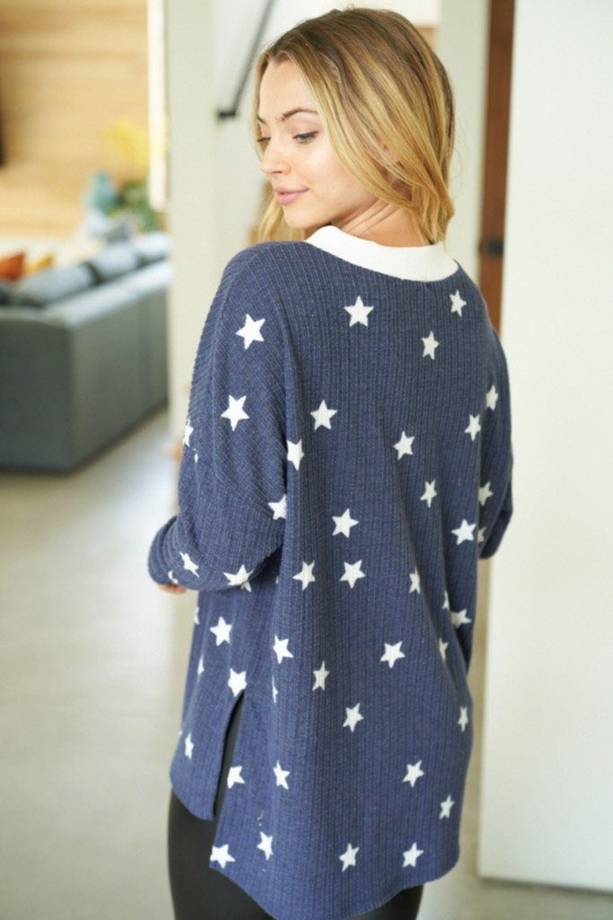 Count Your Lucky Stars Blue Crisscross Pullover Top 2