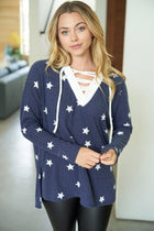 Count Your Lucky Stars Blue Crisscross Pullover Top 3