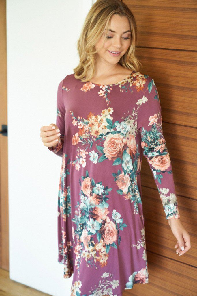 Countless Compliments Dark Mauve Floral Print Dress 4