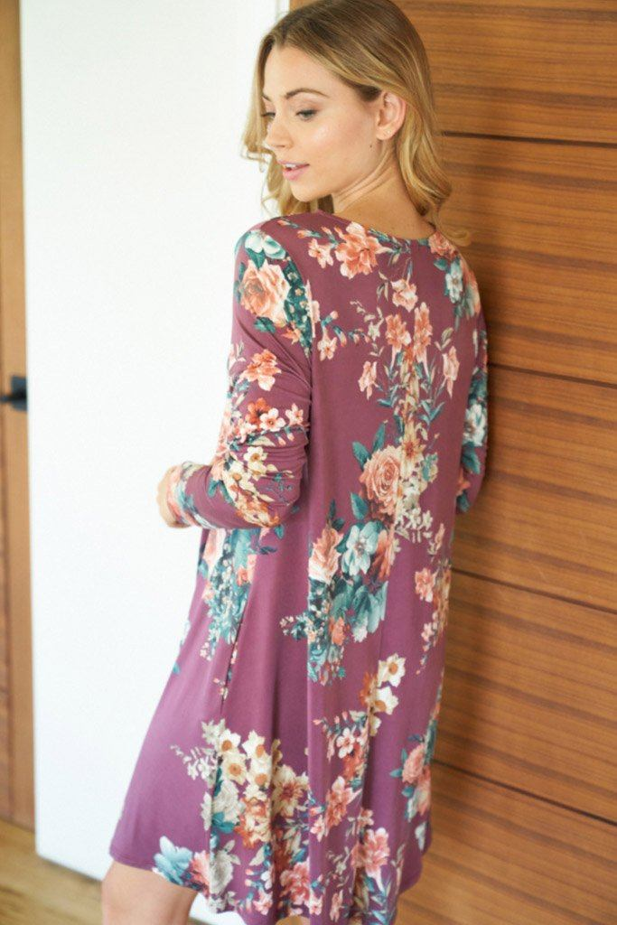 Countless Compliments Dark Mauve Floral Print Dress 2