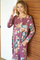 Countless Compliments Dark Mauve Floral Print Dress 1
