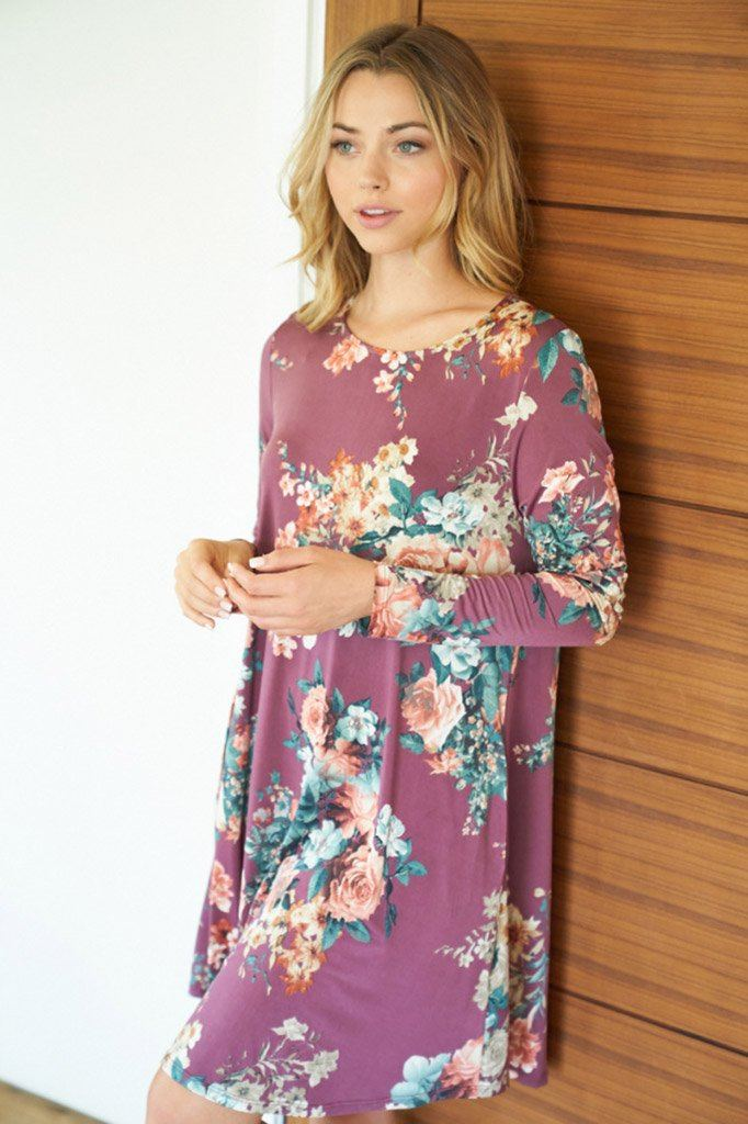 Countless Compliments Dark Mauve Floral Print Dress 3