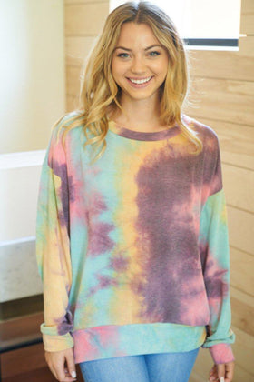 Cozy As Can Be Purple Multi Tie Dye Sweatshirt 1
