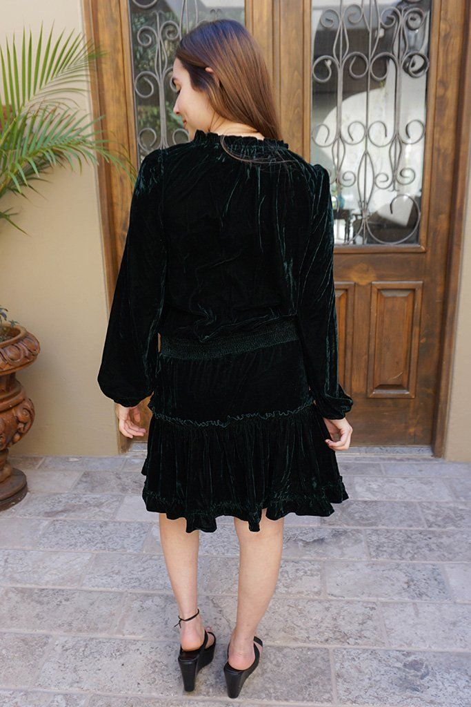 Crazy Over You Forest Green Velvet Long Sleeve Skater Dress 3