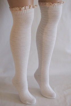 Cream Knit Over Knee Long Thigh High Socks With Cuff 1