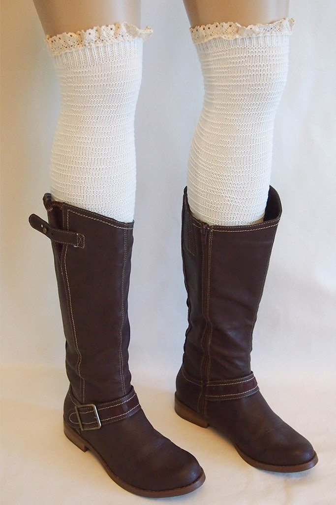 Cream Knit Over Knee Long Thigh High Socks With Cuff 2