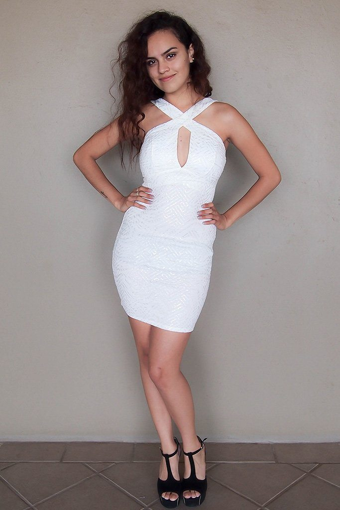 Cross My Heart Off White Cutout Bodycon Mini Dress 4