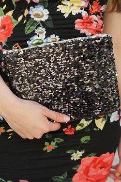 Crowd Pleaser Black Sequin Front Zip Top Clutch 4