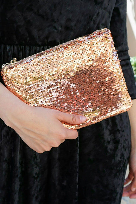 Crowd Pleaser Cooper Sequin Front Zip Top Clutch 5
