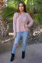 Crush On You Mauve Pink Knit Lace-Up Sweater 4