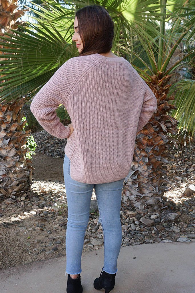 Crush On You Mauve Pink Knit Lace-Up Sweater 3