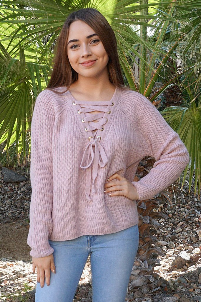 Crush On You Mauve Pink Knit Lace-Up Sweater 1