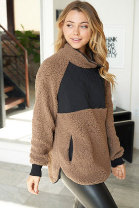 Cuddle Up Cutie Mocha Black Fleece Sweater 1