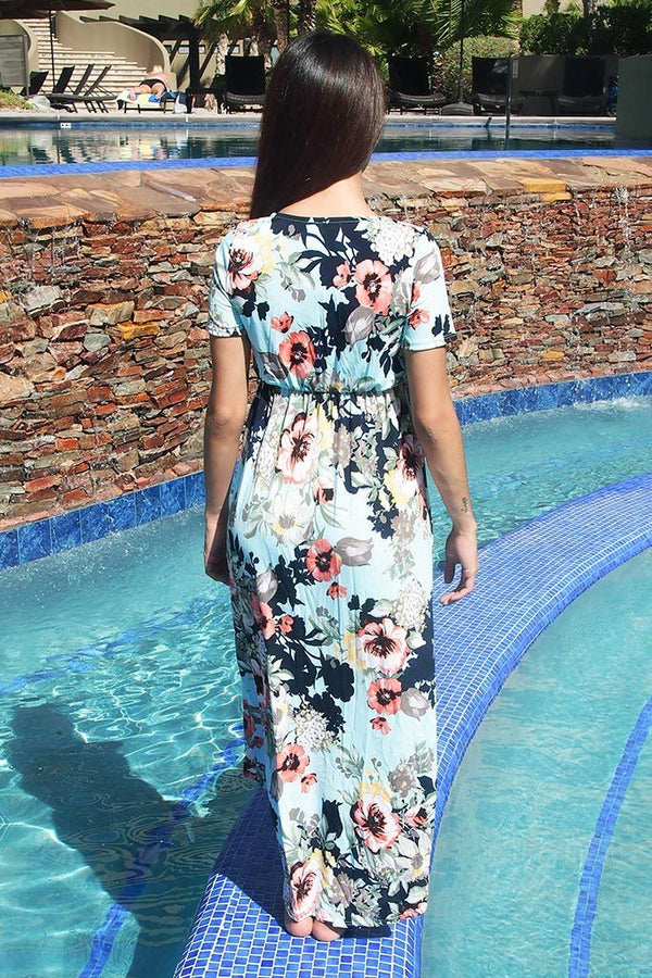 Dance The Night Away Blue Floral Wrap High Low Maxi Dress 3