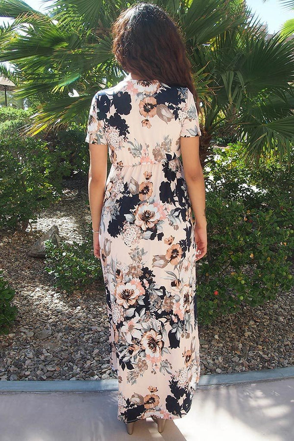 Dance The Night Away Pink Floral Wrap High Low Maxi Dress 2
