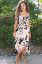 Dance The Night Away Pink Floral Wrap High Low Maxi Dress 4