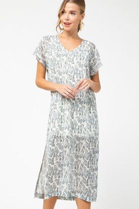 1 Dare To Dazzle Grey Snake Print Maxi Dress at ledyzfashions.com