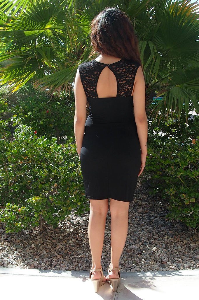 Date Night Black Lace Cutout Bodycon Dress 3