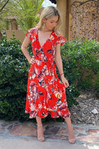 Daydream Red Floral Print Wrap High Low Maxi Dress 4